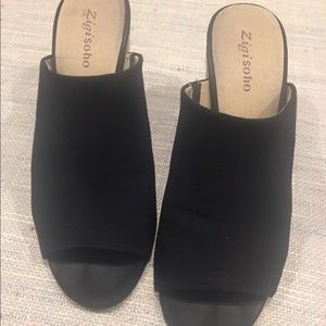 Ladies slides. Black vegan leather size 9
